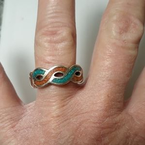 Vintage Sterling Turquoise/Coral Ring